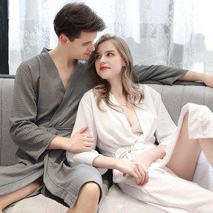 Verão Novo Estilo Robe Amantes Casal Nightgown Bath vestido Pijamas Homens Roupa de Noite Waffle Tecido Robes Beauty vestidos Multi Cores