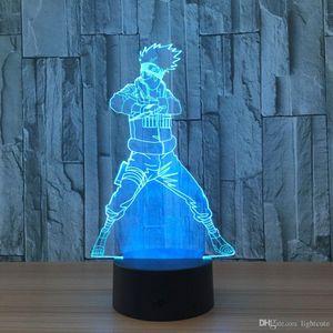 아이 선물에 대한 나루토 액션 그림 Kakashi 3D LED 나이트 라이트 테이블 램프 3D 참신 야간 조명 장식