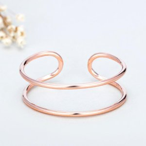 925 Sterling Silver Double Layer Open Cuff Bangle Bracelet Simple Fashion Party Bangle Jewelry For Women Gifts S-B294