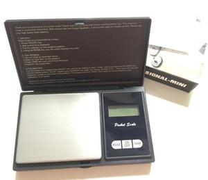 Balança de Peso de Bolso Digital preto Eletrônico 200g 0.01g 500g 0.1g Jóias Escala de Diamante Escalas de Equilíbrio Display LCD com Pacote de Varejo