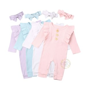 0-18M Infant Newborn Baby Girl Ruffles Romper Long Sleeve Jumpsuit Soft Knitted Autumn Spring Baby Girls Clothing Costumes