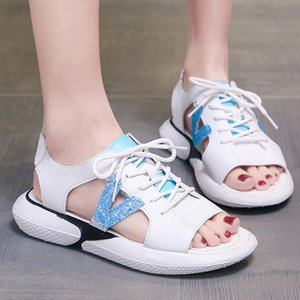 2020 Summer Fashion sport Women shoes Round Head Flat Bottom Large Size Sandals lace-up patchwork sandals#