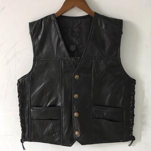 Gilet de moto en cuir noir pour les hommes en cuir véritable veste de motard Punk veste sans manche en automne bouton dentelle pour les hommes