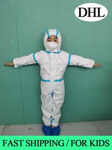 In Stock DHL Waterproof Isolation Clothes Hazmat Suit Cuff Frenulum Protective Antistaic Disposable Gowns Protective Suit For Kids