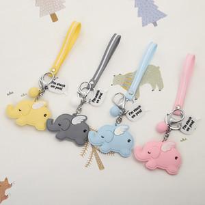 Cartoon Elephant Keychain Colorful Soft Rubber PVC Lovely Keyrings Women Key Chain Car Key Ring Bag Pendant Jewelry
