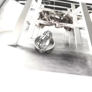 상자 선물 86 G 패션 고급스러운 고품질의 고급 실버 구찌 두개골 연인 링 스탬프 반지 여성 남성 쥬얼리 웨딩