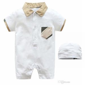 여름 짧은 소매 아기 바디 슈트 Romper 옷깃 칼라 두건을 한 아이 Jumpsuit 아기 옷 단색 아기 소년 부티크 의류