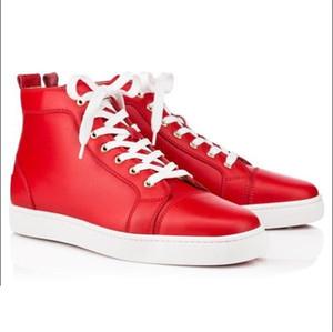 Precio Blanco Negro de cuero genuino zapatilla de deporte plana de alta calidad Hi-top zapatos inferiores rojos de las mujeres de los hombres al aire libre Redbottom Zapatos que caminan ocasionales