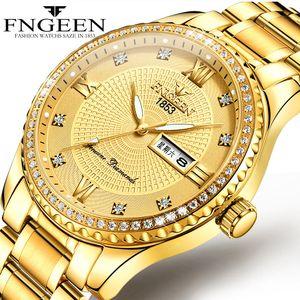 Brand Watch Мужская Местный Тиран Золото Не механические Часы Нержавеющая Сталь Светостойкие Водонепроницаемые Золотые Мужские Часы Марка Мода Подарок
