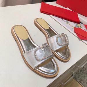 2020 diamantes de imitación de cuero reales diapositivas oro, plata, zapatos planos de las mujeres sandalias de cuero de lujo de la moda de tamaño 35 a 41 tradingbear