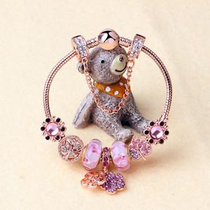 2020 magia de Pandora perlas en oro rosa melocotón esmalte perlas pulsera, pendiente de la aleación de melocotón brazalete de perlas