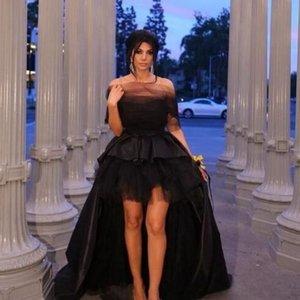 2020 Yüksek Düşük Gelinlik Modelleri A-line Tül Saten Kapalı Omuz Mahkemesi Tren Örgün Akşam Parti Elbise Özel Durum Elbise