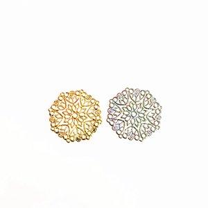 50 pièces / Lot 33mm en métal en filigrane fleur tranche estampage feuille Wraps Connecteur Bijoux Accessoires