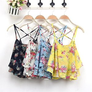 Womens Chiffon Camis Designer Floral Back Criss-Cross Camis Sexy U-Neck Crop Tops Fashion Natural Color Camis
