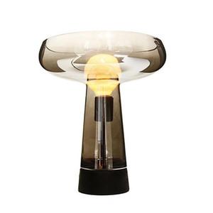 Moderna nero Ambra Glass Table Lamp Hotel Casa Soggiorno Camera da letto Comodino Scrivania luce del lavoro di studio di fissaggio TA186