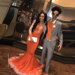 Оранжевые русалки с длинными рукавами выпускного вечера платья выпускного вечера из бисера драгоценностные шеи формальное платье разведка поезда сатин плюс размер аппликации вечерние платья