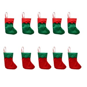 10Pcs Christmas Stockings Gifts Candy Bag Kids Candy Socks Christmas Tree Home Decoration Christmas Tree Hang Pendant DIY Xmas S