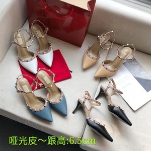 Hot Sale-Designer Pointed Toe 2-Strap with Studs high heels Patent Leather rivets Sandals Women Shoes valentine high heel Shoes 8 color