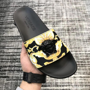 Top Quality printed Beauty head real leather Slides for men Fashion sandals causal summer flip flops slippers shoes for man with box 38-45