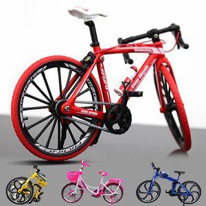 Diecast modelo de juguete de bicicletas, plegable bicicleta de montaña, bicicleta de carreras por carretera, City Girl Bicicleta rosa claro, ornamento, Navidad Kid Regalo de cumpleaños, Recogida
