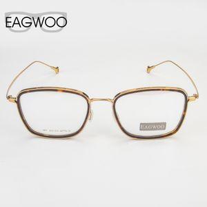 Atacado-Eagwoo Pure Quadro Titanium Óculos completa Rim Optical Nerd Vintage PrescripSpectacle Homens retangular Óculos Nova 388231