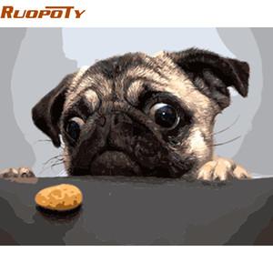 RUOPOTY Unframe Hund und Kuchen DIY Malen nach Zahlen Moderne Wand-Kunst-Bild handgemaltes Ölgemälde einzigartiges Geschenk Home Decor Box