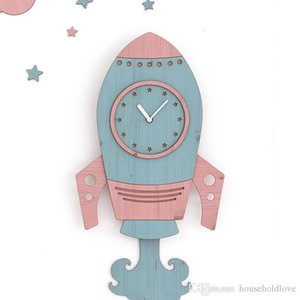 European style children living room clock mute large rocket Creative decoration home wall clock bedroom creative wall clock gifts