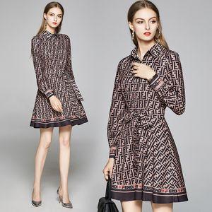 2020 estilo de la calle de pista señoras de la moda de impresión diseñador de la solapa de los mini vestidos atractivos Mujeres botón frontal Sash arco Una línea de la camisa de vestido del partido de oficina