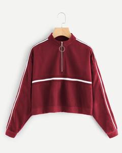 Women Hoodies Sweatshirts Long Sleeves Single Stripe Neckline Zipper Design Casual Short Pullover Sweater Autumn And Winter Ladies Clothes