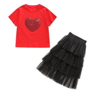 Kız Takımı tişört + cake Etek Pullarda Kısa Kollu Yaz Çocuk 2adet Seti Moda Günlük Büyük Çocuk Suit 120 130 140 150