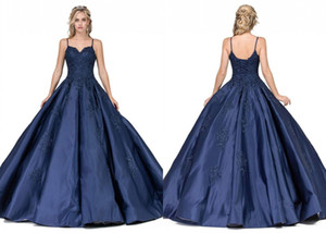 Spagetti sapanlar Saten Açık geri Dantel Akşam Parti Sweet 16 elbise ile Basit Ucuz Lacivert Balo Onbeş Yaş Balo elbiseler