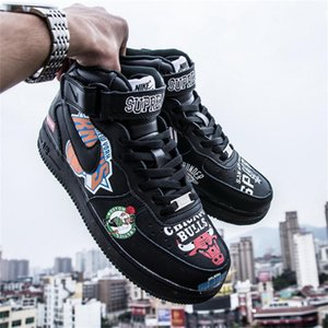 Nike Air Force 1 Supreme NBA AF1 Mid High Top 18SS Luxury Designer Graffiti Black Kanye West Trainers Men Women Sports Running Shoes Sneakers Basketball Shoes