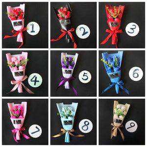 Soap Blumen Künstliche Rosen-Bouquet Romantische Rose Valentinstag Mädchen Geschenk Hochzeit Blumen Dekoration Rose LJJA3542-2