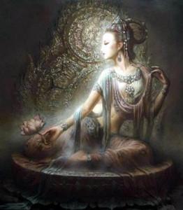 Chinese Dunhuang Kwan-yin Göttin Qualitäts-Handwerk / HD-Druck Porträt Kunst Öl auf Leinwand Gemälde, Multigrößen / Rahmenoptionen DH060