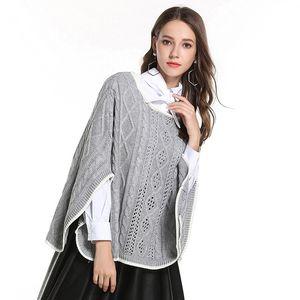 Mulheres Autumn Wiinter Cloak Camisolas perca metade da luva Poncho Cabo malha escavar Pullovers Feminino casaco quente Sólidos elegante