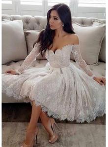 긴 소매 끄기 - 어깨 무릎 길이 흰색 동성애 드레스 아가씨 맞춤형 2019 레이스 짧은 댄스 파티 드레스