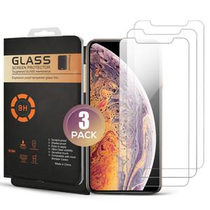 Perakende Kutusu ile Ekran Koruyucu 3 Paketi temperli cam iPhone 11 PRO MAX XR XS MAX Koruyucu Film iPhone için 7 8 PLUS XS 11 PRO