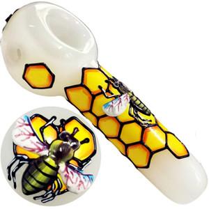 Belle nid d'abeille d'abeille Pipes verre 3D Pipes verre fumeur Dogo Cuillère pour Pipes Bongs tabac pour pipe en verre Livraison gratuite