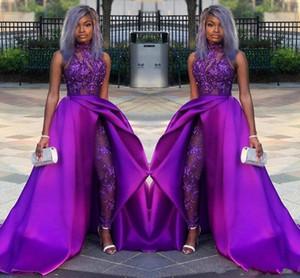 2020 классические выпускные комбинезоны платья с съемным шлейфом высокой шеи кружева аппликация из бисера вечерние платья роскошные африканские партии женские брючные костюмы