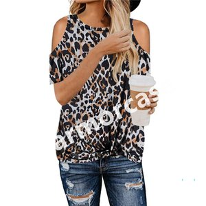 Kadınlar Leopard Tişörtlü Zebra Kamuflaj Knot Çapraz Yaylar Kapalı Omuz Tees Yaz Tişört Knot Bluz Seksi Çıplak Kol Tişört CZ328 çevirin Tops