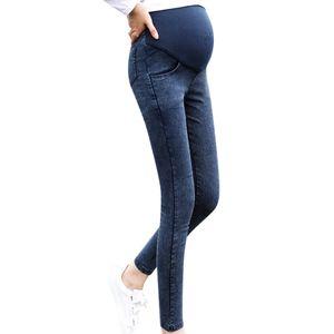 Maternity Pregnancy Skinny Trousers Jeans Pants Elastic pregnant women's feet stomach lift pants stretch lift denim pants
