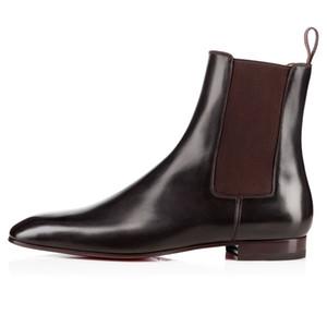 Venda quente-Melhor Qualidade Red Bottom Roadie Homem Plana Ankle Boots de Camurça + Couro Moda Homem Botas Inverno Fresco