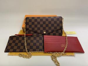 Di trasporto delle donne del cuoio genuino Woc frizione borsa 64065 del progettista di marca 3pcs Bag Set Pochette con Box 61276
