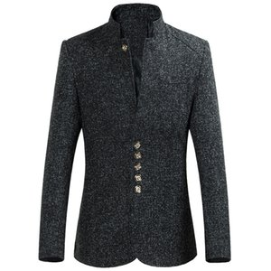 Business Dress Suits Men's Fashion Autumn Winter Single Row Buckle Long Sleeve Coat