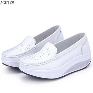 AGUTZM женщина обувь лето натуральная кожа Полая из дышащей распашной обуви белый медсестры обувь клиньи армии whirt матери обуви