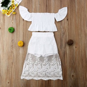 2 pieces Toddler Kids Baby Girls Lace Off Shoulder Tops Long Mesh Skirt Shorts Outfits Set Children Toddler Girl Clothes