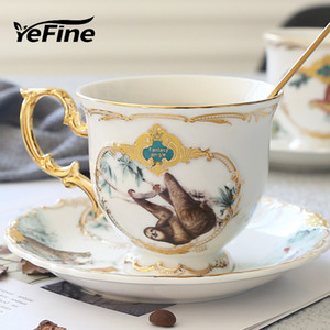 atacado Jungle Animal Osso de Ouro China Tea Cup Pires estilo britânico cerâmica Coffee Cups Define Moda Porcelain Teacup