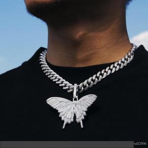 Regalo all'ingrosso 2019 Argento Blu Collana fuori ghiacciato animali grande farfalla placcato Mens Hip Hop Bling Jewelry