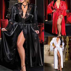 Womens Sexy Longo Kimono vestido de renda Bath Robe Lingerie Vestido Ice Silk Nightdress sólida Tamanho Cor Nightgown Nightwear Além disso,