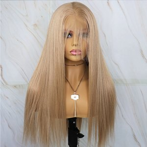 Fashion Cheap Synthetic Hair Lace Front Wigs Blonde Long Straight Hair Wig for Women Heat Resistant Blonde Synthetic Wig With Baby Hair
